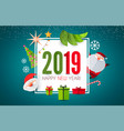 happy new 2019 year cute paper art design vector image