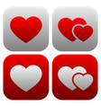 heart icon set single heart and pair of hearts vector image