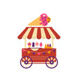 ice cream cart on wheels with ice cream cone vector image
