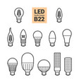 led light b22 bulbs outline icon set vector image vector image