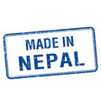 made in nepal blue square isolated stamp vector image vector image