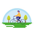 man riding bike outdoors image vector image