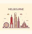 melbourne big city skyline australia linear vector image