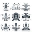 monochrome badges set fencing sport vector image vector image
