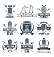 monochrome badges set of fencing sport vector image vector image