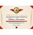 official certificate with red gold design elements vector image