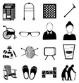 old age retired people icons set vector image
