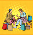 older women girlfriends shopping vector image vector image