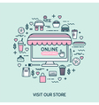 Online shopping Set with fast food icons vector image vector image