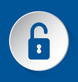 open padlock - simple blue icon on white button vector image