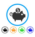 piggy bank rounded icon vector image vector image