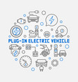 plug-in electric vehicle circular outline vector image vector image