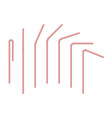 realistic white red drinking straws striped vector image vector image