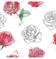 red roses seamless watercolor pattern vector image