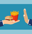 rejecting the offered junk food vector image vector image