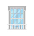 retro window with balcony on white background vector image vector image