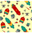 seamless pattern with skateboarding accessories vector image vector image