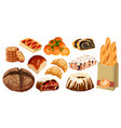 set bread icons rye whole grain and wheat vector image
