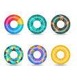 set colorful inflatable swim rings vector image vector image