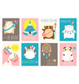 set of cards cute woodland tribal animals vector image
