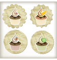 set of cupcakes on golden napkins vector image