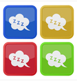 set of four square icons with ZZZ speech bubble vector image