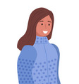 smiling woman in sweater winter clothes vector image vector image