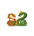 Snakes and flower vector image vector image