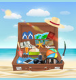 suitcase open with beach travel object on beach vector image