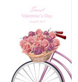 sweet valentine day card with roses flowers vector image vector image