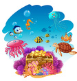 Treassure chest and sea animals underwater vector image vector image