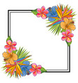 tropical flowers and palm leaves bouquet elements vector image vector image