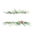 watercolor banner of cacti and succulent vector image vector image