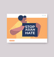 woman holding text banner against bullying vector image vector image