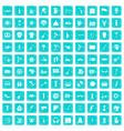 100 street festival icons set grunge blue vector image