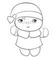 a little cartoon santa wearing a christmas cap vector image