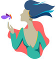 a woman hand touches butterfly vector image