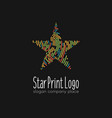 abstract colorful linear star logo on dark vector image