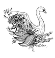 Abstract graphic swan print vector image