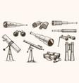 binoculars or field glasses military set vintage vector image vector image