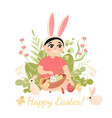 boy sitting surrounded rabbits and chickens vector image vector image