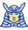 bushido samurai head armor helmet retro vector image vector image