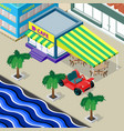 cafe palm trees car and urban landscape on the vector image vector image