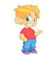 cartoon little boy waving vector image vector image