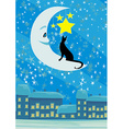 cat sitting on the moon in the night sky vector image