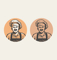 chef portrait logo cooking cuisine symbol vector image