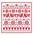 christmas folk art greeting card vector image vector image