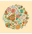 circle made of flowers and birds Round s vector image