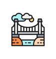 city bridge landscape flat color line icon vector image vector image