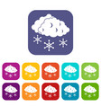 clouds and snow icons set vector image vector image